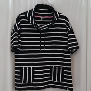 T by Talbots white striped, short sleeved top
